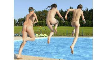 Nude swimming or bathing
